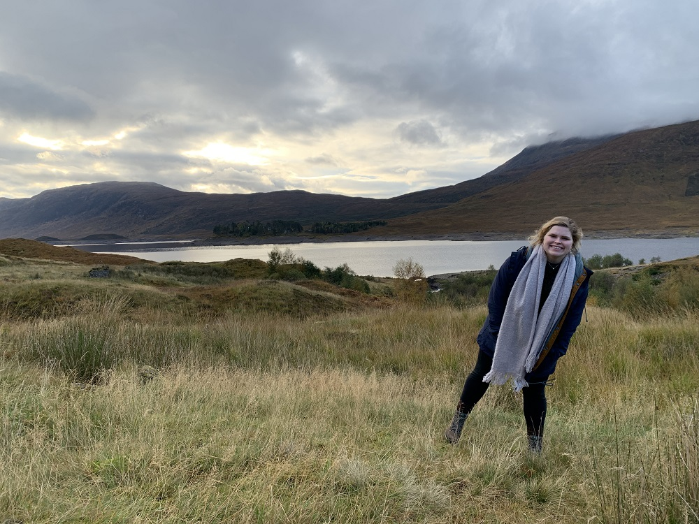 Jenna in the Scottish countryside during her short stint there before the outbreak of coronavirus.