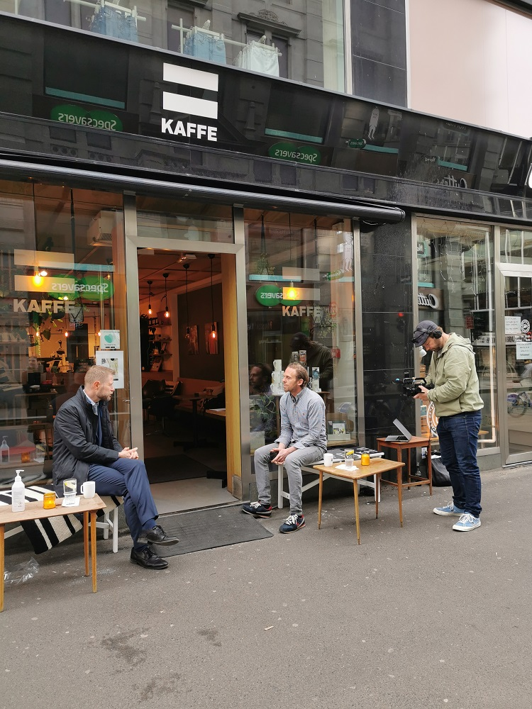 =Oslo interview with the norwegian health minister, Bent Høie, at the =Kaffe coffee shop in the Norwegian capital. [Courtesy of =Oslo]